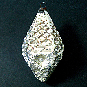 Indented Silver Pine Cone Antique Glass Christmas Ornament