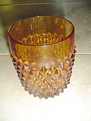 Indiana Glass Diamond Point Amber Globes For Candles 3 In.