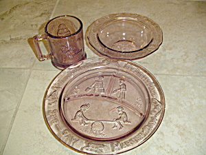 3 Piece Set Of Tiara Indiana Glass In Amethyst W/mother Goose