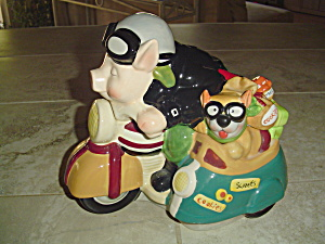 Pig And Dog Motorcycle Riders Cookie Jar Cute Gift