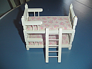 Wood Convertible Bunk Beds W/ladder Wood Doll House Furniture