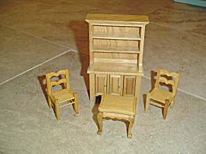 4 Pc. Dining Room Set Wood Doll House Furniture