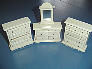 3 Pc. White Bedroom Chests Wood Doll House Furniture
