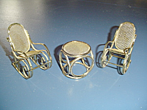 Metal Gold Rockers And Table Metal Doll House Furniture