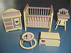 Wood Nursery Teddy Bear Decal 5 Pc. Set Doll House Furniture