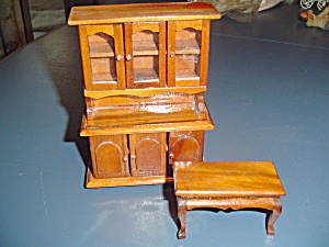 Wood China Hutch And Coffee Table Doll House Furniture