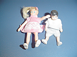 Brother And Sister Bendable Rubber Dolls For Doll House Furniture