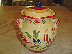 Certified International Yellow, Red, Green, Blue Handled Cookie Jar
