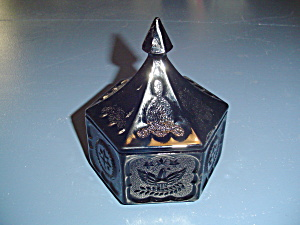 Vintage Tiara Hexagon Black Glass Covered Candy Dish