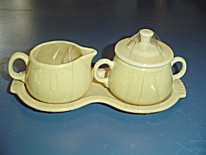 Homer Laughlin Fiesta Yellow Cream/sugar/tray Set Newer