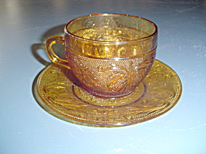 Indiana Tiara Amber Sandwich Glass Cups And Saucers