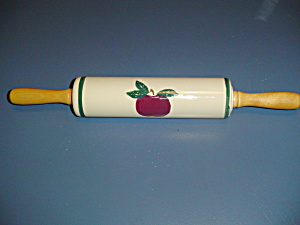 Maker Unknown Ceramic Apple Decor Rolling Pin W/wood Handles