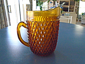 Indiana Glass Amber Diamond Point Serving Pitcher
