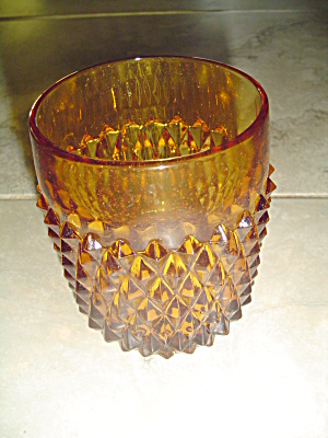 Indiana Glass Diamond Point Amber Rocks/old Fashioned/juice