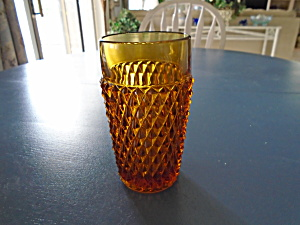 Indiana Glass Diamond Point Amber Iced Tea Glasses/tumblers