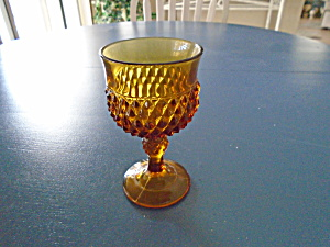 Indiana Glass Amber Diamond Point Wine Goblets