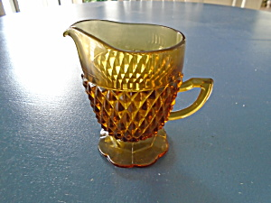 Indiana Glass Amber Diamond Point Creamer