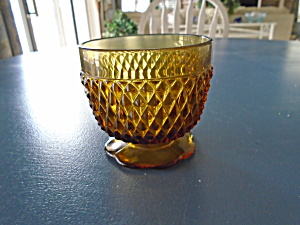 Indiana Glass Amber Diamond Point Open Sugar Bowl