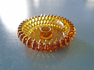 Indiana Glass Amber Diamond Point Candleholders