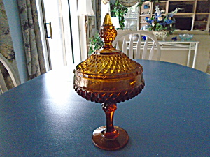 Indiana Glass Amber Diamond Point Covered Compote/candy Dish