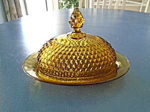 Indiana Glass Amber Diamond Point Covered Butter Dish