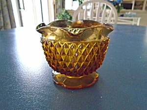 Indiana Glass Amber Diamond Point Open Sugar With Gold Flash Rim