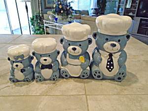 A Set Of 4 Blue And White Teddy Bear Canisters Ceramic