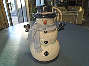 Home Snowman W/blue Scarf And Hat