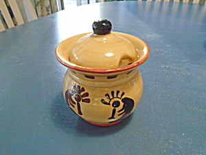 Ack Kokopelli Hand Painted Casa Vero Covered Sugar Bowl