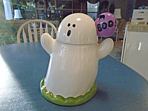 Ghost Cookie Jar W/bubble Saying Boo Along W/a Bat Cute