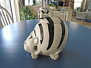 Pier 1 Black And White Striped Fat Cat Cookie Jar