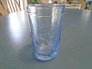 Tiara Indiana Glass In Blue W/mother Goose 4 In. Tumblers/glasses