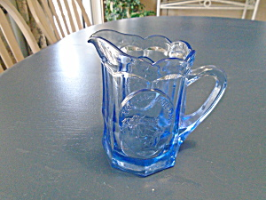 Tiara Indiana Glass In Blue W/mother Goose Child's Pitchers