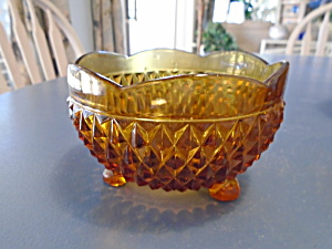 Indiana Glass Amber Diamond Point Bon Bon Footed Bowl