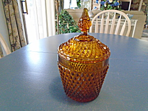 Indiana Glass Diamond Point Amber Covered Ice Bucket(S)