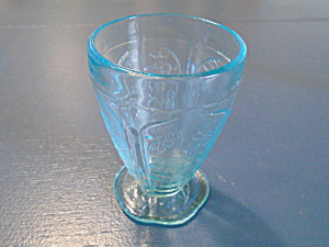 Indiana Glass Tiara Sandwich Glass Footed Glasses Aqua Blue