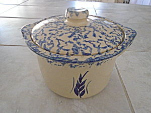 Roseville Pottery Crock W/cover Blue Spongeware W/wheat