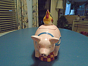 Pink Pig With Rooster On His Back Cookie Jar