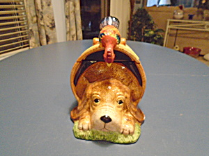 Dog In A Barrel W/rooster Ceramic Cookie Jar