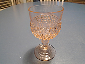 Indiana Glass Pink Diamond Point Wine Goblet