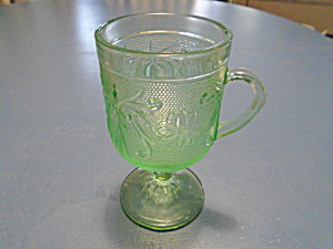 Indiana Glass Tiara Lt. Green Sandwich Glass Pedestal Mugs