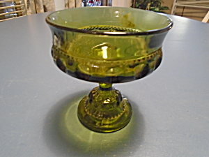Indiana Glass Green Thumbprint Compote Depression