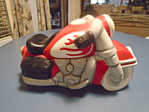 Motorcycle Cookie Jar Ceramic And Heavy