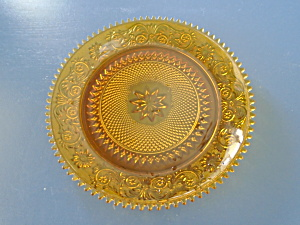 Indiana Glass Tiara Amber Sandwich Glass Dinner Plates