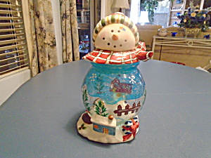 Snowman Christmas Glass/ceramic Cookie/candy Jar Super Cute