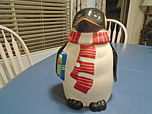 Nonni Penguin Cookie Jar Christmas Theme
