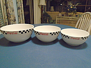 Gibson Coca-cola Coke Set Of 3 Mint Mixing Bowls