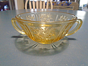 Federal Glass Amber Cabbage Rose Creme Soup Bowl