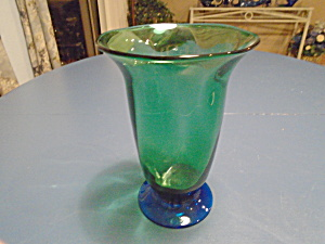 Orrefors Green And Blue Footed Flare Top Vase Vintage