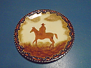 Clay Art Western Plains Salad Plates Cowboy On Horse